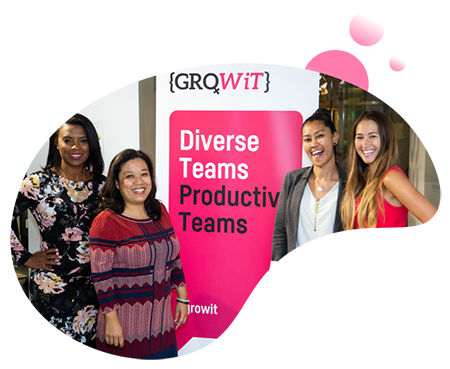 GroWiT Team Standing in Front of Banner Bubble