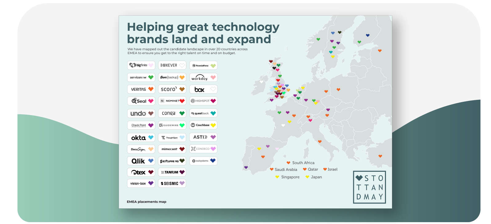 Stott and May EMEA Tech Sales Placements Map