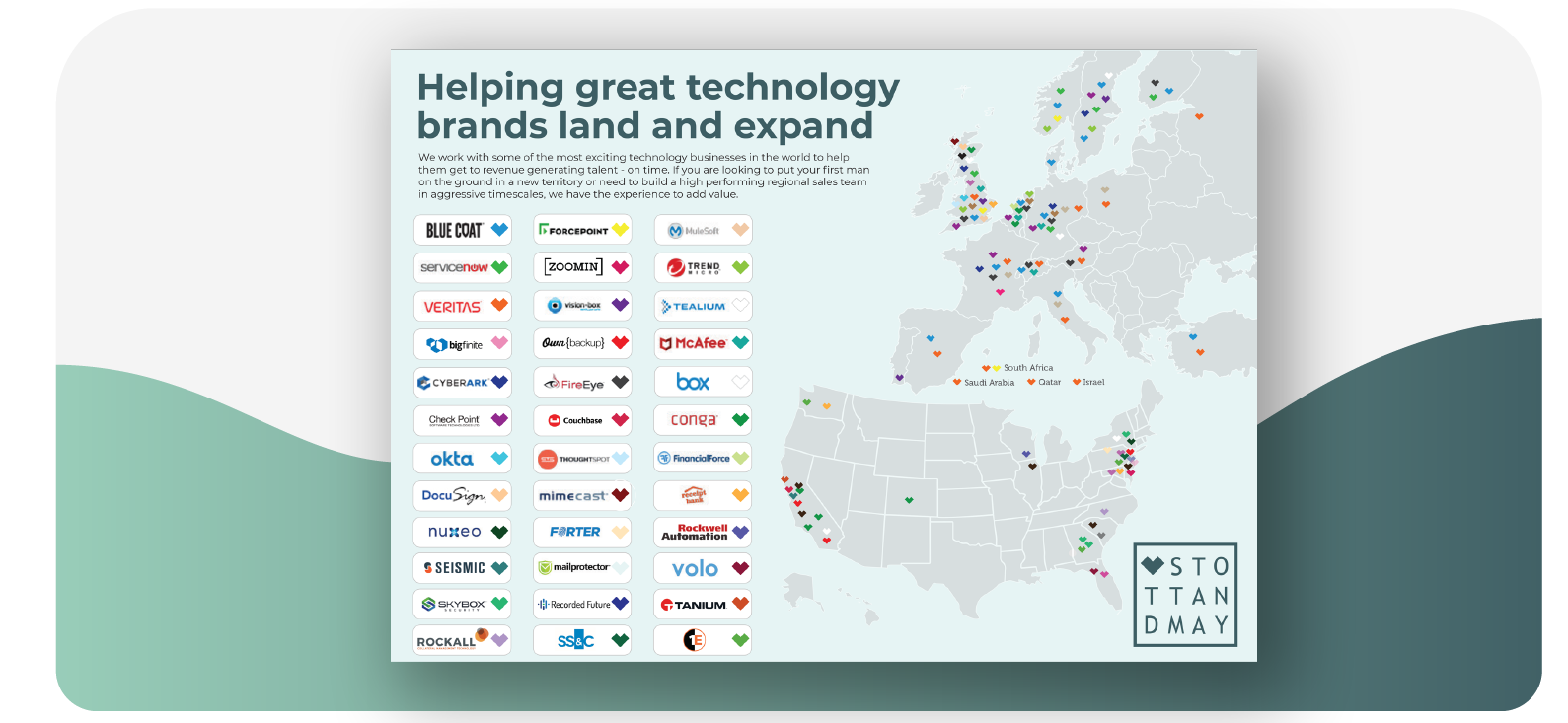 Stott and May Global Tech Sales Placements Map